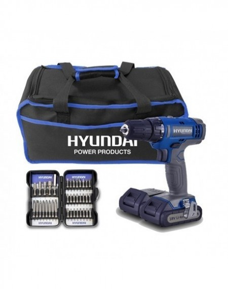 HYUNDAI Pack Perceuse 18V + 2 Batteries + Coffret 37 Embouts + Sac HPVD185-37A